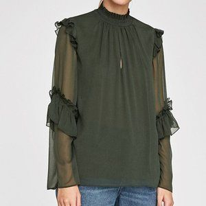 Forest green, sheer blouse